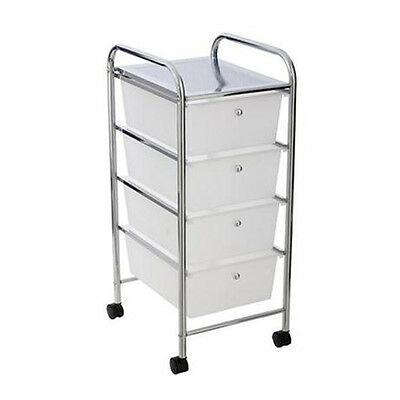 4 Drawer Storage Matel Trolley Cabinet Office Bathroom Movable Chrome Finish