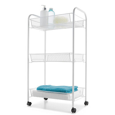 3-Tier Bathroom Laundry Kitchen Trolley Storage Baskets Movable Metal White