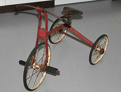 Collectable Antique Kids Tricycle Trike 1930's Metal Red Colour