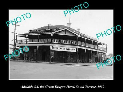 OLD LARGE HISTORIC PHOTO OF ADELAIDE SA, THE GREEN DRAGON HOTEL, SOUTH Tce 1939