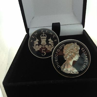 1970 Enamelled large 5p Coin Cufflinks. Black/silver. Head/tail. 46th Birthday