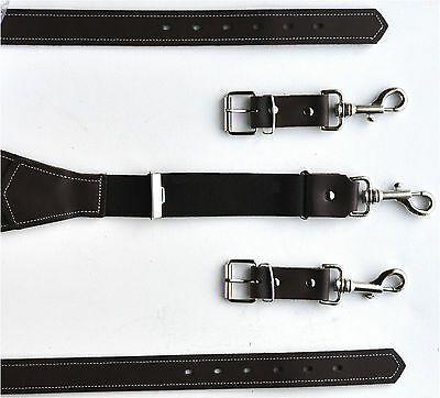 Real Leather Stark Braces with Carabiner Hooks 110 to 160 cm Selectable