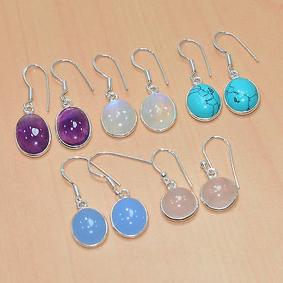 925 Solid Sterling Silver Wholesale 5Pair Turquoise & Mix Gemstone Earring Lot