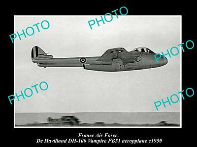 Old Large Historic Photo Of France Air Force, De Havilland Vampire Plane 1950