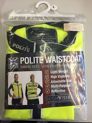 Polite Hi Vis High Visibility Waistcoat Cycling Adult Size Medium