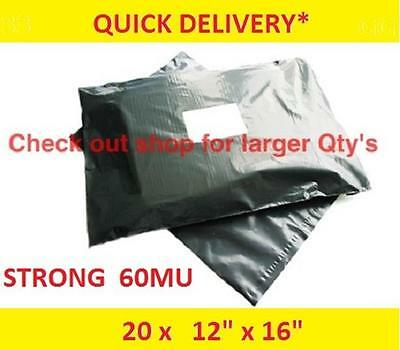 """20 STRONG Mailing Bags 12"""" x 16""""  Extra Large Grey Plastic Postage Postal   AI53"""