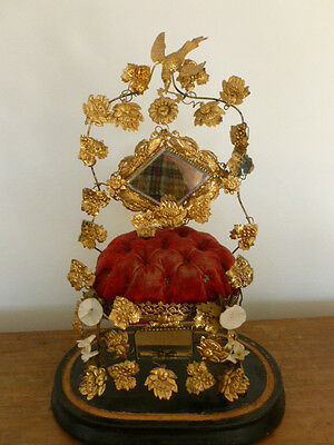Vintage French marriage cushion , gilt decoration and mirrors, price reduced
