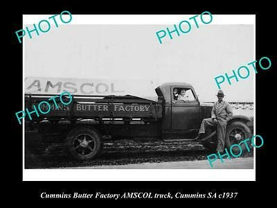 Old Historic Photo Of Cummins South Australia, Amscol Butter Factory Truck 1937