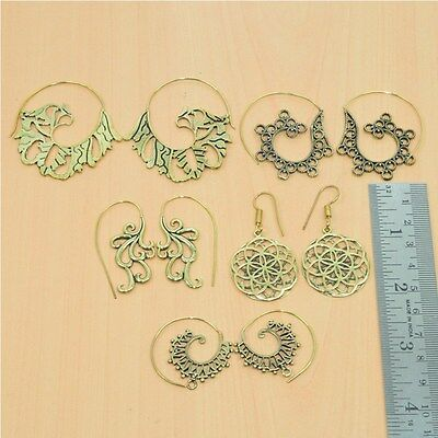 Wholesale 5Pair Solid Brass Plain Antique Long Hook Earring Jewelry Lot