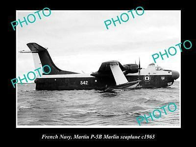 OLD LARGE HISTORIC AVIATION PHOTO OF MARTIN MARLIN SEAPLANE, FRENCH NAVY c1965