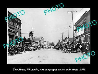 OLD LARGE HISTORIC PHOTO OF TWO RIVERS WISCONSIN, VIEW OF THE MAIN STREET c1910