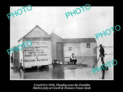Old Historic Photo Of The South Australian Farmers Union Sheds, Cowell Sa 1916