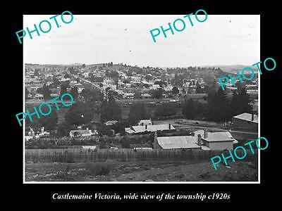 OLD LARGE HISTORICAL PHOTO OF CASTLEMAINE VICTORIA VIEW OF THE TOWNSHIP c1920s 1