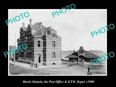OLD LARGE HISTORIC PHOTO OF BARRIE CANADA, THE GTR RAILROAD DEPOT & PO c1900