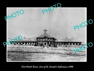 OLD LARGE HISTORIC PHOTO OF FORT WORTH TEXAS, VIEW OF St JOSEPHS INFIRMARY c1900
