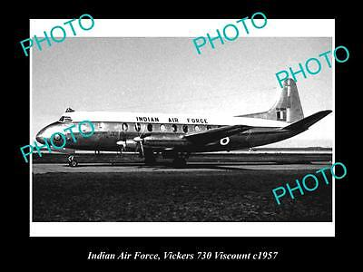 OLD LARGE HISTORIC AVIATION PHOTO OF INDIAN AIR FORCE VICKERS VISCOUNT c1957