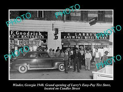 Old Large Historic Photo Of Winder Georgia, Opening Of Larrys Tire Store 1948