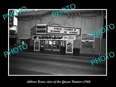 OLD LARGE HISTORIC PHOTO OF ABILENE TEXAS, VIEW OF THE QUEEN THEATER 1960s 2