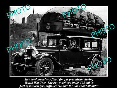Old Historical Photo Of Car Running On A Gas Bag, Petrol Rationing, Wwii Aust