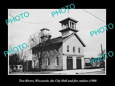 OLD LARGE HISTORIC PHOTO OF TWO RIVERS WISCONSIN, CITY HALL & FIRE STATION c1900