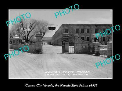 OLD LARGE HISTORIC PHOTO OF CARSON CITY NEVADA, THE NEVADA STATE PRISON c1935