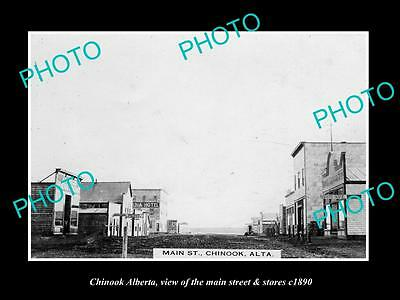 OLD HISTORIC PHOTO OF CANADA, CHINOOK ALBERTA, THE MAIN St & STORES c1890
