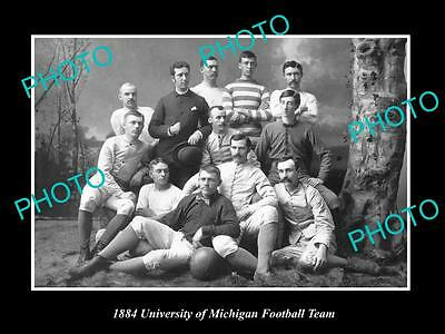 OLD LARGE HISTORIC PHOTO OF THE UNIVERSITY OF MICHIGAN FOOTBALL TEAM c1884
