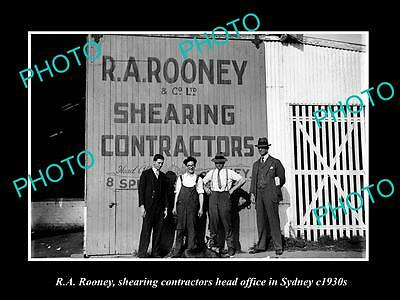 OLD LARGE HISTORIC PHOTO OF ROONEYS WOOL SHEARING CONTRACTORS OFFICE c1930s SYD