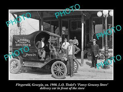 OLD LARGE HISTORIC PHOTO OF FITZGERALD GEORGIA, TISDELS GROCERY STORE CAR c1900