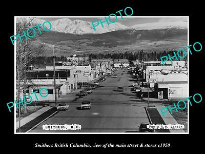 Old Large Historic Photo Of Smithers British Columbia, Main Street & Stores 1950