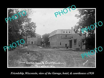 OLD LARGE HISTORIC PHOTO OF FRIENDSHIP WISCONSIN, THE GARAGE & COURTHOUSE c1920