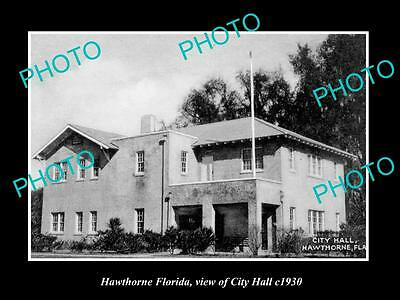 OLD LARGE HISTORIC PHOTO OF HAWTHORNE INDIANA, VIEW OF CITY HALL c1930