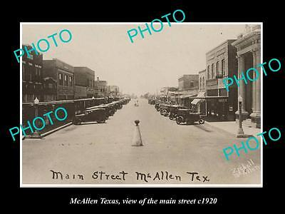 OLD LARGE HISTORIC PHOTO OF McALLEN TEXAS, VIEW OF THE MAIN STREET c1920