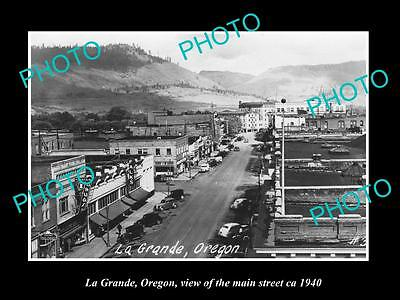 OLD LARGE HISTORIC PHOTO OF LA GRANDE OREGON, VIEW OF THE MAIN STREET ca 1940