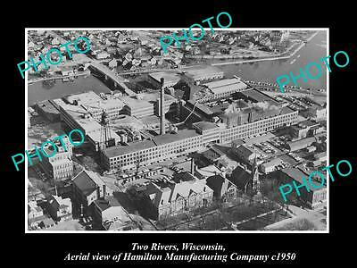 OLD LARGE HISTORIC PHOTO OF TWO RIVERS WISCONSIN, HAMILTON MANUFACTURING Co 1950