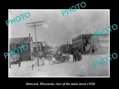 OLD LARGE HISTORIC PHOTO OF HANCOCK WISCONSIN, VIEW OF THE MAIN STRET c1920