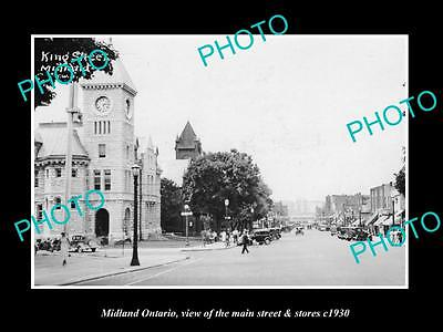 OLD HISTORIC PHOTO OF CANADA, MIDLAND ONTARIO, THE MAIN St & STORES c1930