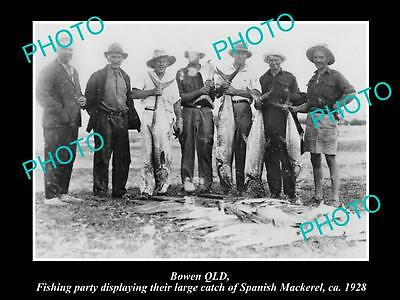 Old Historic Fishing Photo Of Bowen Queensland, The Spanish Mackeral Catch 1928