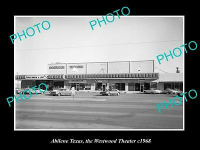 Old Large Historic Photo Of Abilene Texas, View Of The Westwood Theater 1968