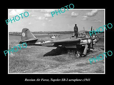 Old Large Historic Photo Of Russia Air Force, Tupolev Sb-2 Aeroplane 1941