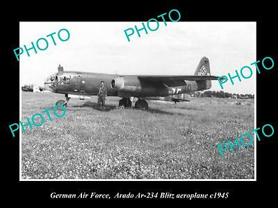 Old Large Historic Photo Of German Air Force, Arado Blitz Plane 1945, Luftwaffe