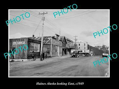 OLD LARGE HISTORIC PHOTO OF HAINES ALASKA, VIEW OF THE MAIN STREET c1949