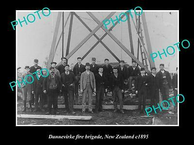 Old Large Historic Photo Of Dannevirke Fire Brigade 1895, New Zealand