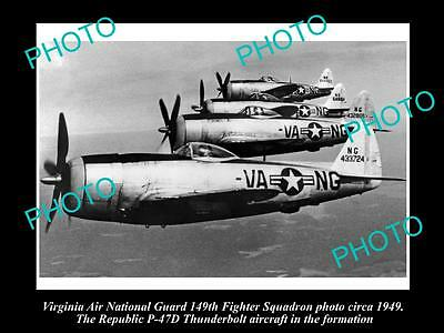 Old Historic Aviation Photo Virginia National Guard P47D Thunderbolt Planes 1949