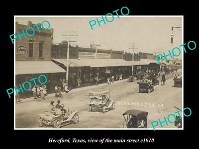 OLD LARGE HISTORIC PHOTO OF HEREFORD TEXAS, VIEW OF THE MAIN STREET c1910