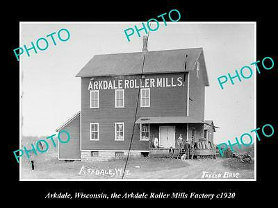 OLD LARGE HISTORIC PHOTO OF ARKDALE WISCONSIN, THE ARKDALE ROLLER MILL c1920