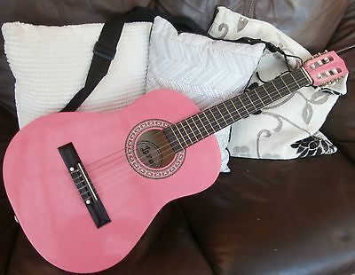 pink 1/2 guitar with case