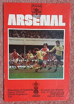 ARSENAL v FENERBAHCE - EUROPEAN CUP WINNERS CUP - 19.9.1979 - FOOTBALL PROGRAMME