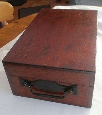 Antique Wooden Mahogany Deed / Storage Box With Carry Handle