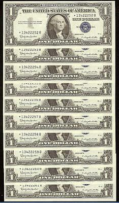 10 Cons 1957 B * Star * $1 Dollar Bills Silver Certificates Currency Notes Unc